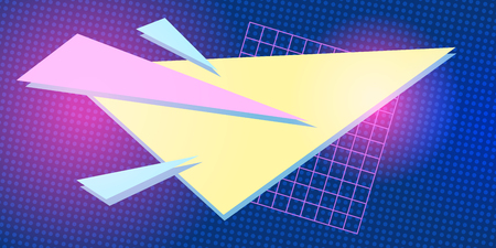 triangle 1980 background retro vector Иллюстрация