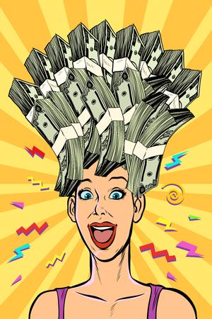 Frau träumt von Geld. Pop-Art Retro-Vektor-Illustration Kitsch Vintage