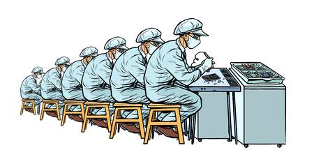 Industria. Planta de fabricación de electrónica. Muchos trabajadores. Ilustración de vector retro pop art kitsch vintage