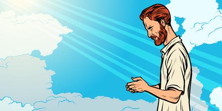 prayer man, religion and faith. Islam Christianity spirituality Stock Vector - 113806358