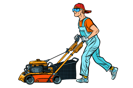 lawn mower worker. Profession and service. Isolate on white background. Pop art retro vector illustration vintage kitsch