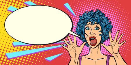 woman panic, fear, surprise gesture. Pop art retro vector illustration. Girls 80s