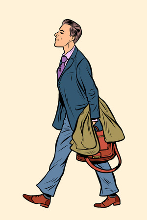 businessman walking, walk around the city. Pop art retro vector illustration vintage kitsch Vector Illustration