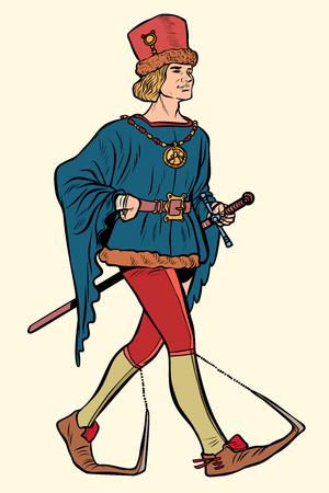 Poulaines usés, homme médiéval XVe siècle. Pop art rétro vector illustration kitsch vintage