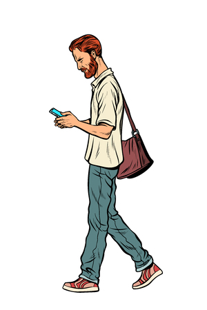 Bearded male pedestrian looks at a mobile phone. Modern man. Pop art retro vector illustration vintage kitsch