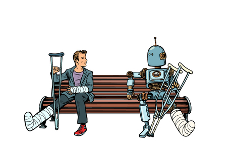 a robot and a man with broken legs with crutches and in a cast. medicine and health. Pop art retro vector illustration kitsch vintage Illustration