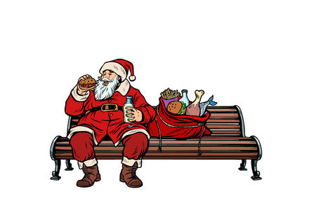 Santa Claus hungry eating on a Park bench. Pop art retro vector illustration kitsch vintage