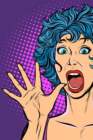mujer pánico, miedo, gesto de sorpresa. Ilustración de vector retro pop art. Chicas de los 80 Ilustración de vector