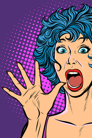 vrouw paniek, angst, verrassingsgebaar. Popart retro vectorillustratie. Meisjes 80's Vector Illustratie