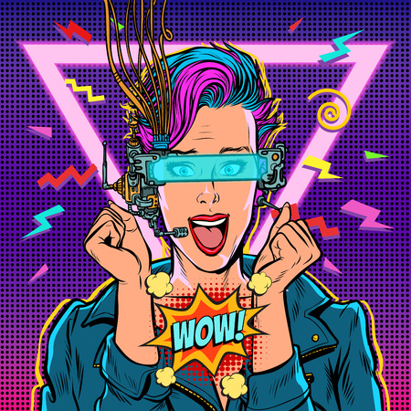 wow joy vr glasses woman gamer virtual reality online. 80s girl. Pop art retro vector illustration kitsch vintage. 80s girl woman