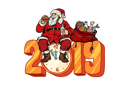 Hungry Santa Claus eating, new year 2019. Pop art retro vector illustration kitsch vintage