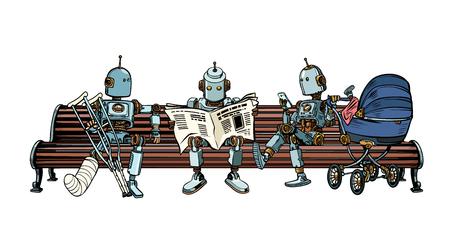Robots are resting on a park bench. Morning press, broken leg, motherhood baby stroller. Pop art retro vector illustration kitsch vintage