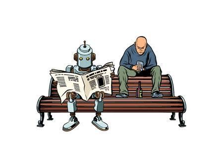 The robot reads the morning newspaper, a drunk man sits next. Pop art retro vector illustration kitsch vintage