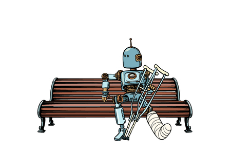 Robot with broken leg in plaster, rest in the Park. Pop art retro vector illustration kitsch vintage