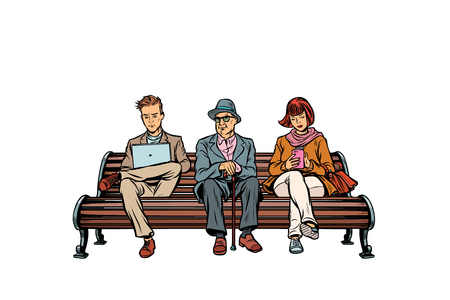 people sit on the bench. pensioner, woman and man. Pop art retro vector illustration kitsch vintage Illustration