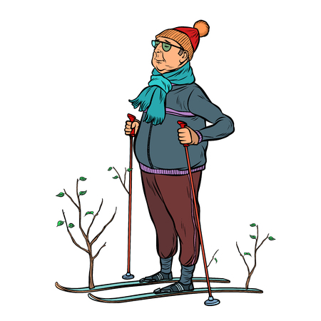 skier male in a forest of young trees. Pop art retro vector illustration kitsch vintage