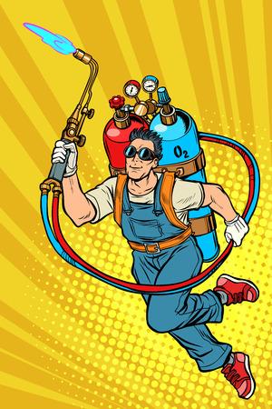 Schweißer Berufskraft. Superheld mit Gasflaschen. Pop-Art Retro-Vektor-Illustration Kitsch Vintage