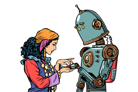 A Gypsy telling fortunes by the hand. The robot wants to know about love. Pop art retro vector illustration kitsch vintage Ilustração