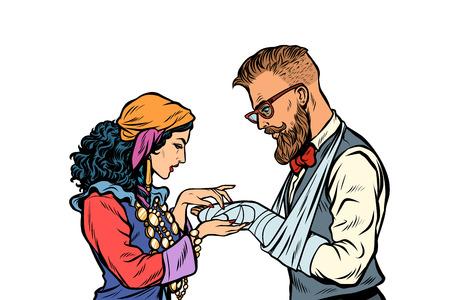 Palmista gitana y hipster. Paciente con yeso y fractura de brazo. Ilustración de vector retro pop art kitsch vintage