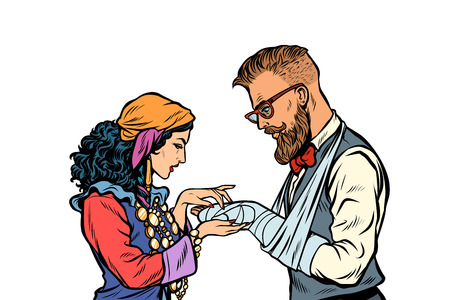Gypsy palmist and hipster. Patient with plaster and a broken arm. Pop art retro vector illustration kitsch vintage Illustration