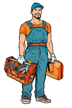 Handwerker Handwerker Service-Profi. Pop-Art Retro-Vektor-Illustration Kitsch Vintage