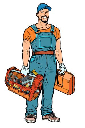 reparateur klusjesman service professional. Popart retro vector illustratie kitsch vintage