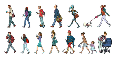 Set collection of pedestrians people walk. Women men robot dog. Modern and retro. Pop art vector illustration kitsch vintage