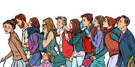The crowd of pedestrians, men and women. Pop art retro vector illustration kitsch vintage