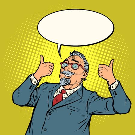 anciano empresario sonríe con el pulgar hacia arriba como gesto. Pop art retro vector ilustración vintage kitsch