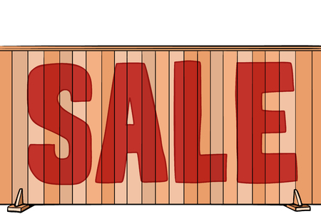 sale inscription on the fence of the house, real estate. Pop art retro vector illustration vintage kitsch Stock Vector - 115651028