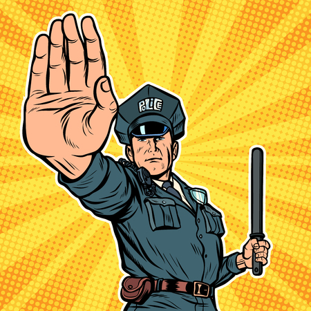 police officer stop gesture. Pop art retro vector illustration kitsch vintage
