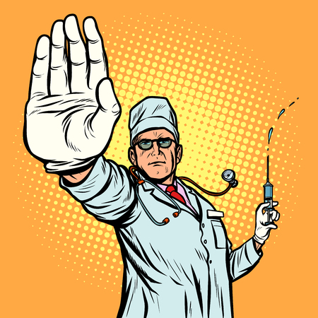 vaccination. stop infection doctor gesture. Pop art retro vector illustration vintage kitsch