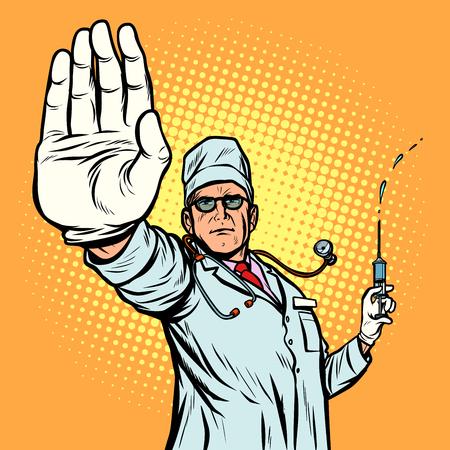 vaccinazione. fermare il gesto del medico di infezione. Pop art retrò illustrazione vettoriale vintage kitsch