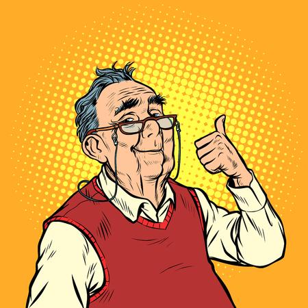 joyeux vieil homme avec des lunettes comme le pouce vers le haut. Pop art rétro vector illustration kitsch vintage
