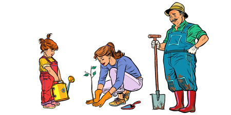 Mother, daughter and grandfather work in the garden. Family planting seedlings. Pop art retro vector illustration vintage kitsch
