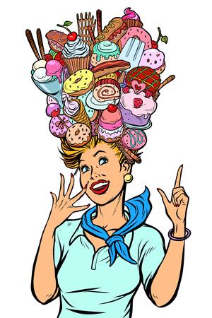 Stewardess woman dreams of sweet