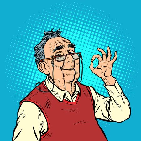 smile elderly man with glasses okay gesture. Pop art retro vector illustration vintage kitsch Illustration