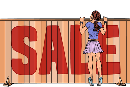 woman looks over the fence. sale house real estate. Pop art retro vector illustration vintage kitsch