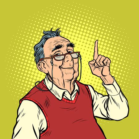 sorriso uomo anziano con occhiali attenzione gesto dito indice in alto. Pop art retrò illustrazione vettoriale vintage kitsch Vettoriali