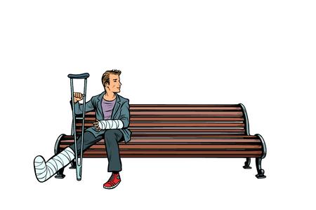 człowiek złamaną nogę ławce w parku. Pop-art retro wektor ilustracja kicz vintage