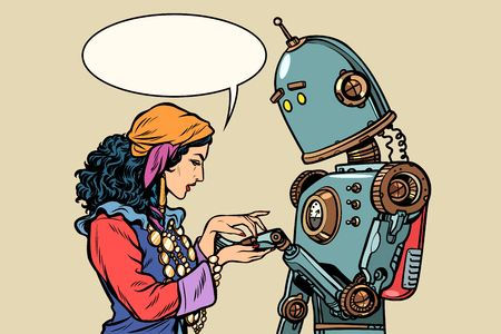 Gypsy fortune teller and robot. Palmistry
