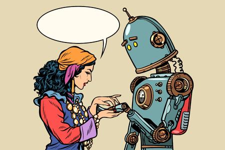 Zigeuner waarzegster en robot. Handlijnkunde