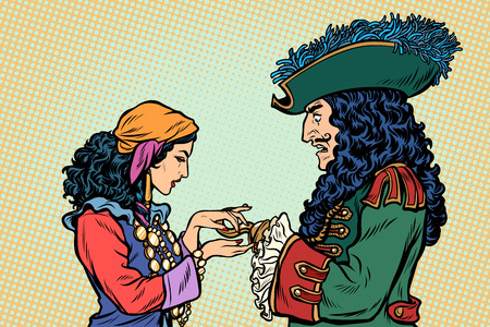 fortune teller and pirate with a hook. Pop art retro vector illustration vintage kitsch
