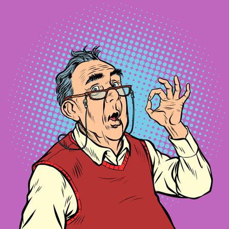 surprise elderly man with glasses okay gesture. Pop art retro vector illustration vintage kitsch Ilustração