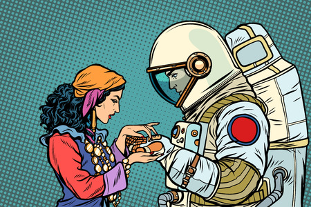 The fortune teller, and an astronaut. Palmistry by hand