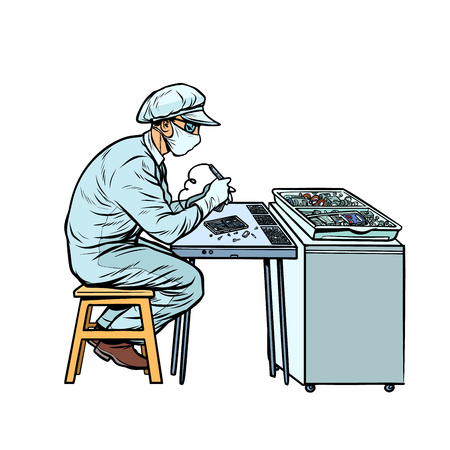 Asian worker in electronics factory. Pop art retro vector illustration kitsch vintage