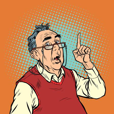 surprise elderly man with glasses attention gesture index finger up. Pop art retro vector illustration vintage kitsch Stock Vector - 125973934