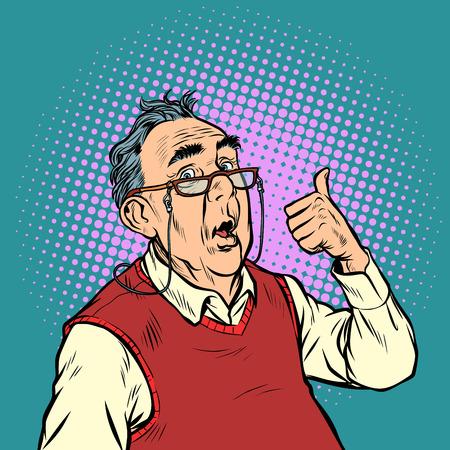 surprised elderly man with glasses thumb up like. Pop art retro vector illustration vintage kitsch