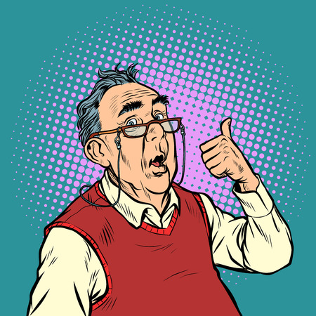 surprised elderly man with glasses thumb up like. Pop art retro vector illustration vintage kitsch