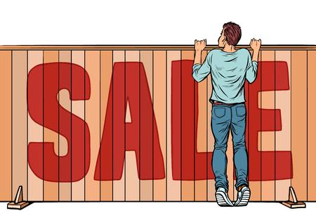 un homme regarde par-dessus la clôture. vente maison immobilier. Pop art rétro vector illustration kitsch vintage